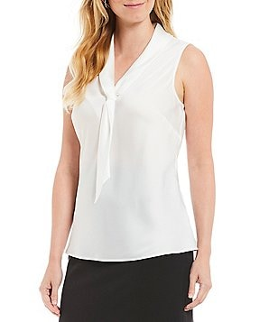 Tahari ASL Sailor Tie-Neck Top