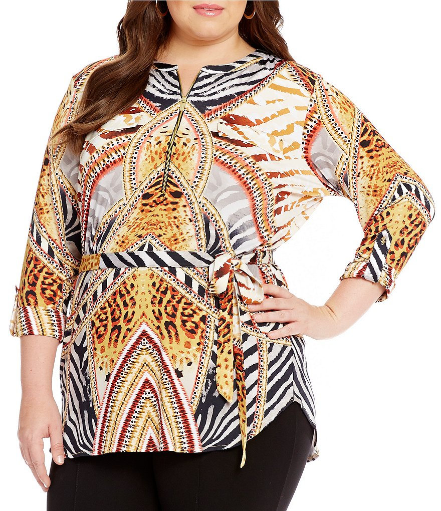Peter Nygard Plus Printed Zip Front Tunic