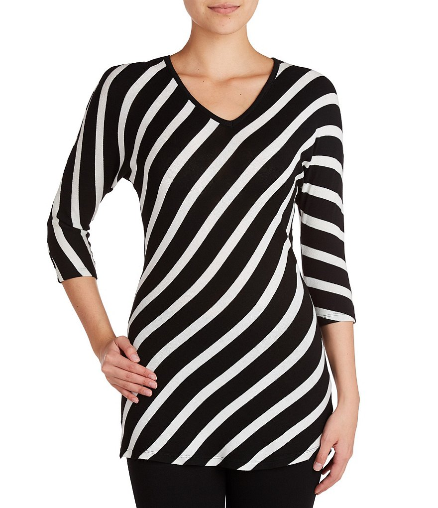 Peter Nygard Petite 3/4 Sleeve V-Neck Striped Tunic