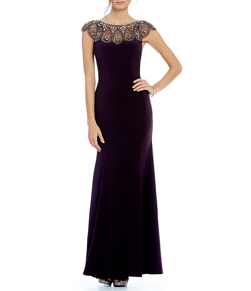 Xscape Beaded Neckline Cap Sleeve Gown