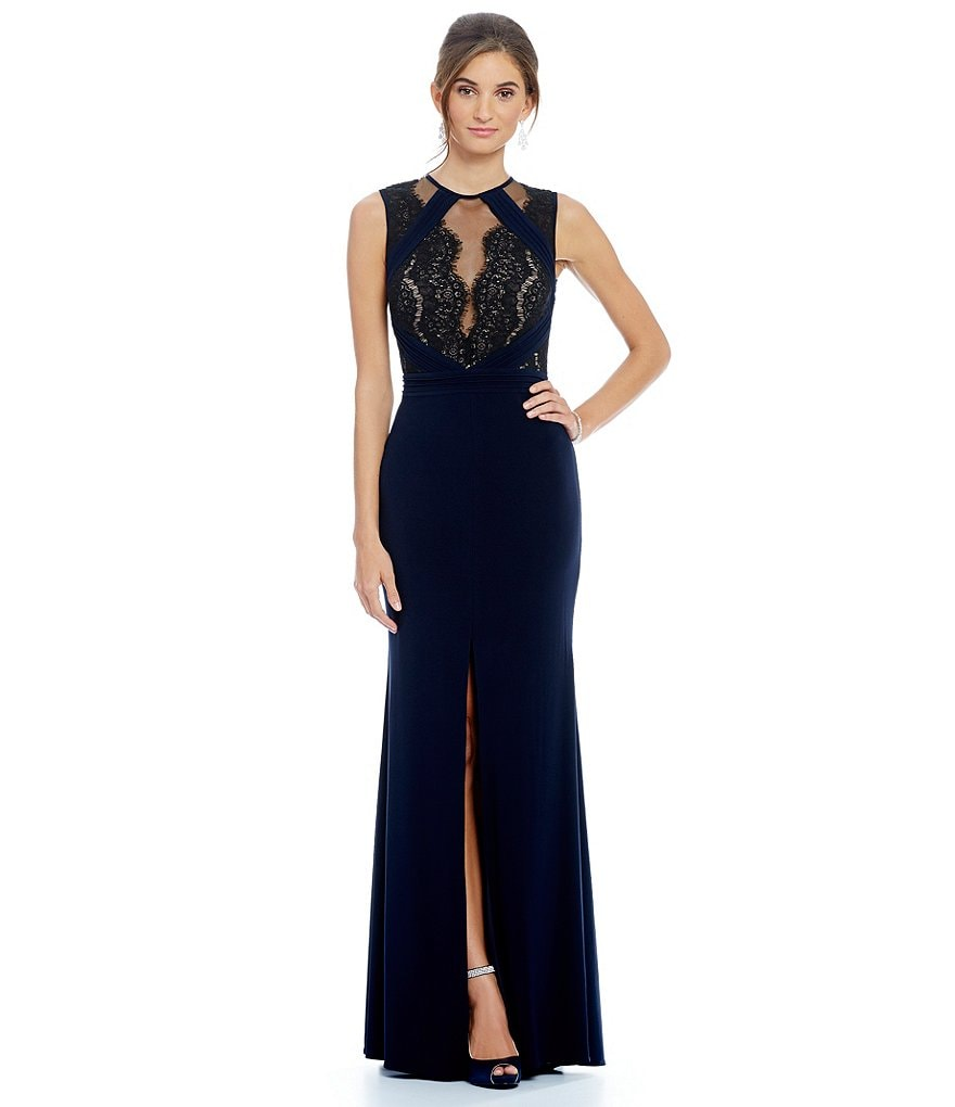 Xscape Illusion Lace Neck Sleeveless Gown