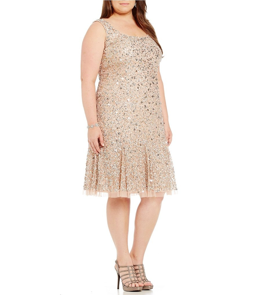 Adrianna Papell Plus Sleeveless Beaded Cocktail Dress