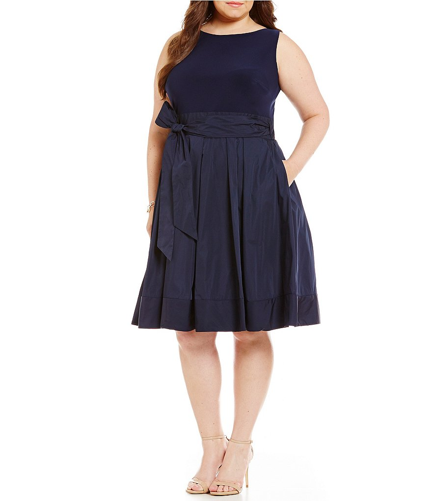 Lauren Ralph Lauren Plus Jersey-Bodice Taffeta Dress