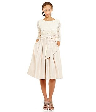 Jessica Howard Petite 3/4-Sleeve Lace Taffeta Party Dress