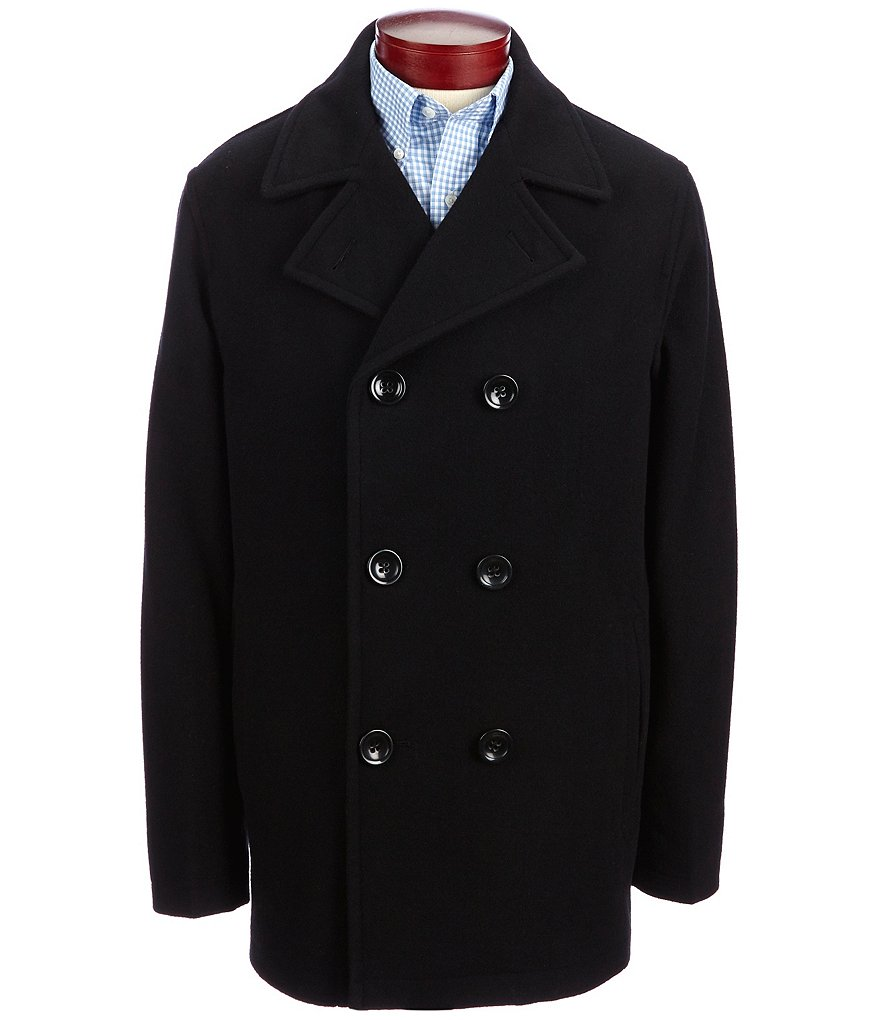 Roundtree & Yorke Wool Blend Double-Breasted Peacoat