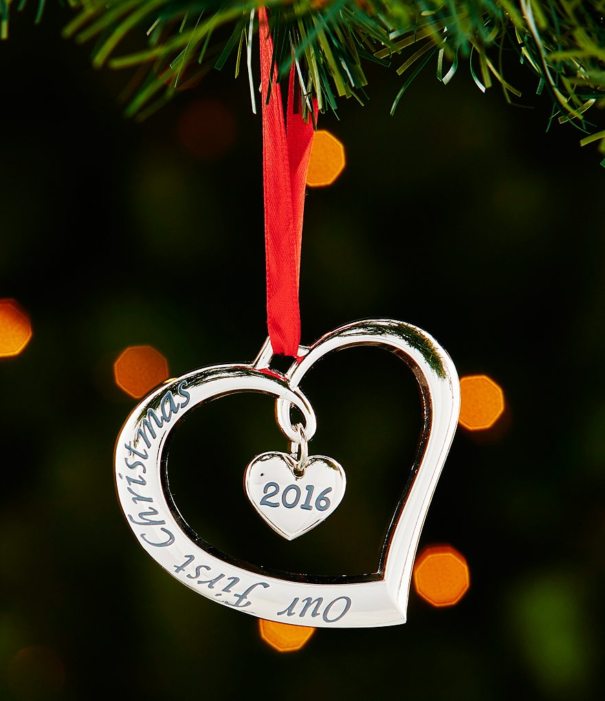 Lenox Silver 2016 Our First Christmas Together Heart Ornament