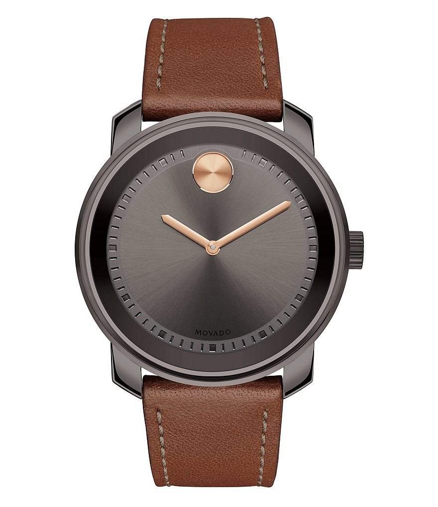 Movado Bold Gunmetal Dial Leather Strap Analog Watch