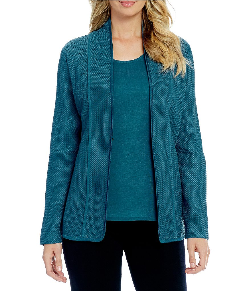 Misook Tuscon Teal Long Sleeve Jacket