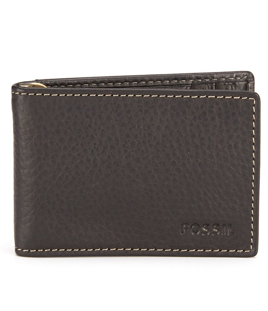 Fossil Lincoln Leather Money Clip Bifold Wallet