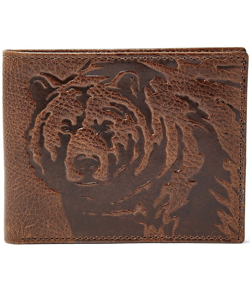 Fossil Ranger Leather L-Zip Bear Embossed Bifold Wallet