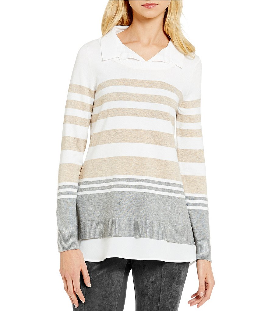 Calvin Klein Fine Gauge Knit Stripe Sweater With Collar and Shirttail Hem