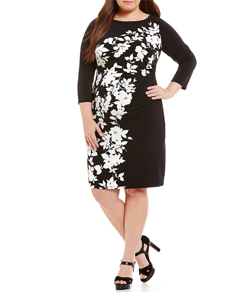 Lauren Ralph Lauren Plus Ruched Floral Dress