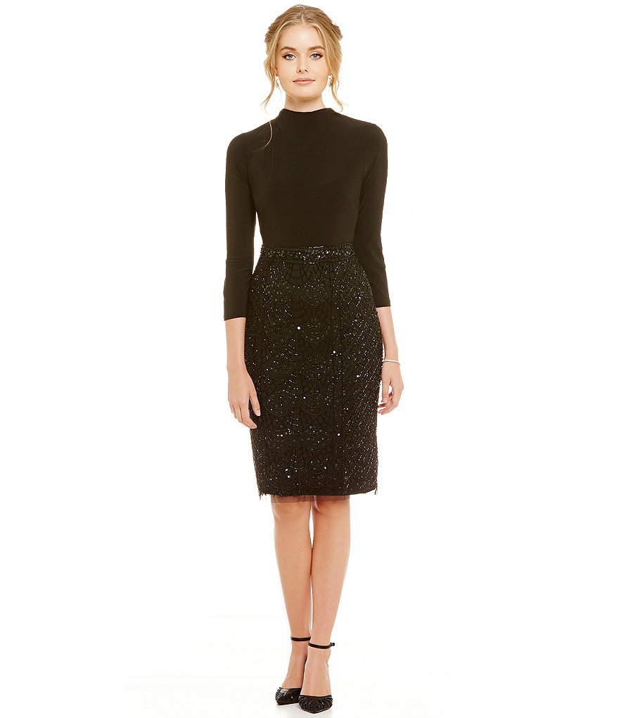 Adrianna Papell Mockneck Beaded Skirt Jersey Sheath Dress