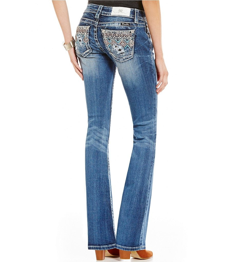 Miss Me Tribal Beaded Pocket Bootcut Jean