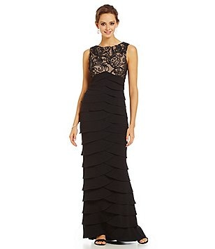 Jessica Howard Petite Empire-Waist Artichoke-Tiered Gown