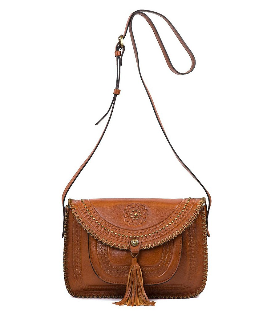 Patricia Nash Soft Veg Tan Collection Beaumont Italian Leather Tasseled Saddle Bag
