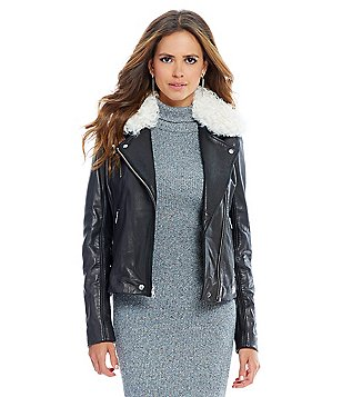 Gianni Bini Dean Genuine Leather Jacket with Removable Lamb Shearling Colla