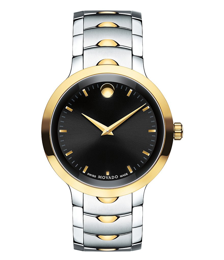 Movado Luno Yellow 2 Tone Gold PVD Stainless Steel Analog Bracelet Watch