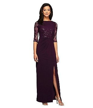 Alex Evenings Petite Illusion-Sleeve Draped Column Gown