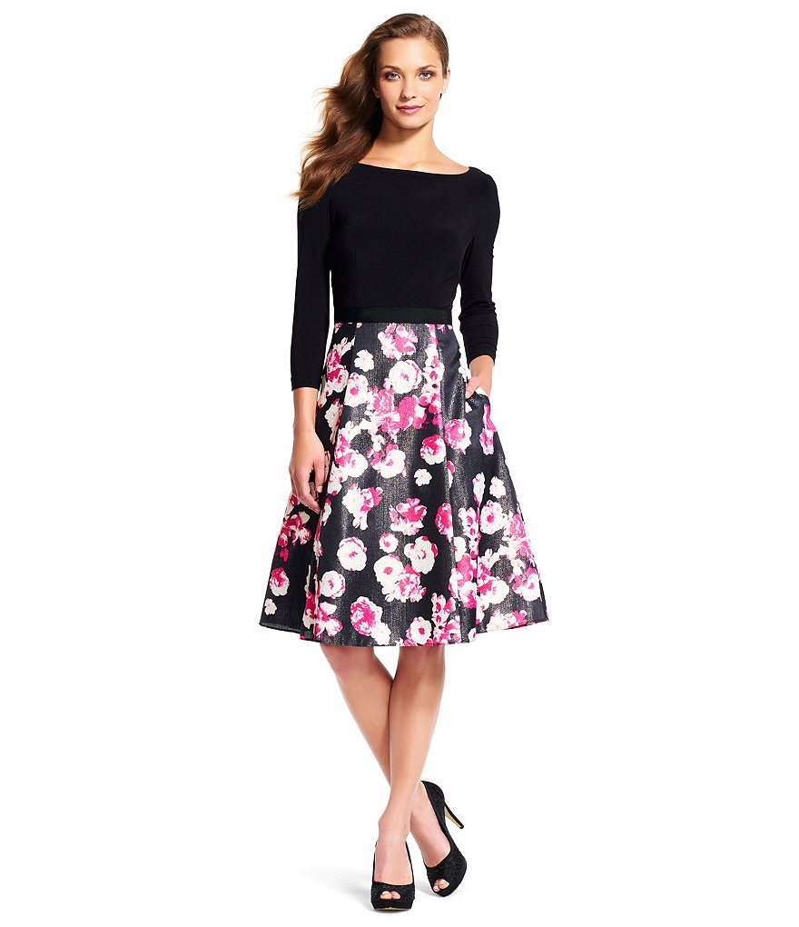 Adrianna Papell Floral Bottom Midi Dress