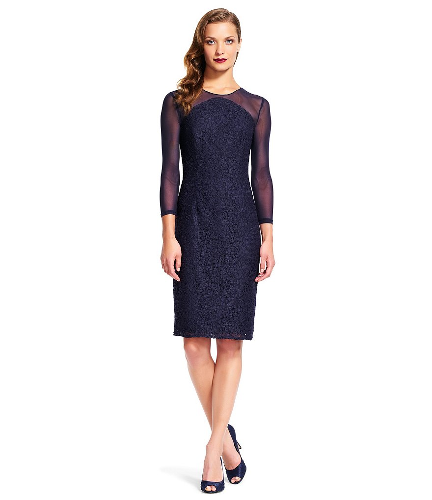 Adrianna Papell Illusion Neck Sheath Dress