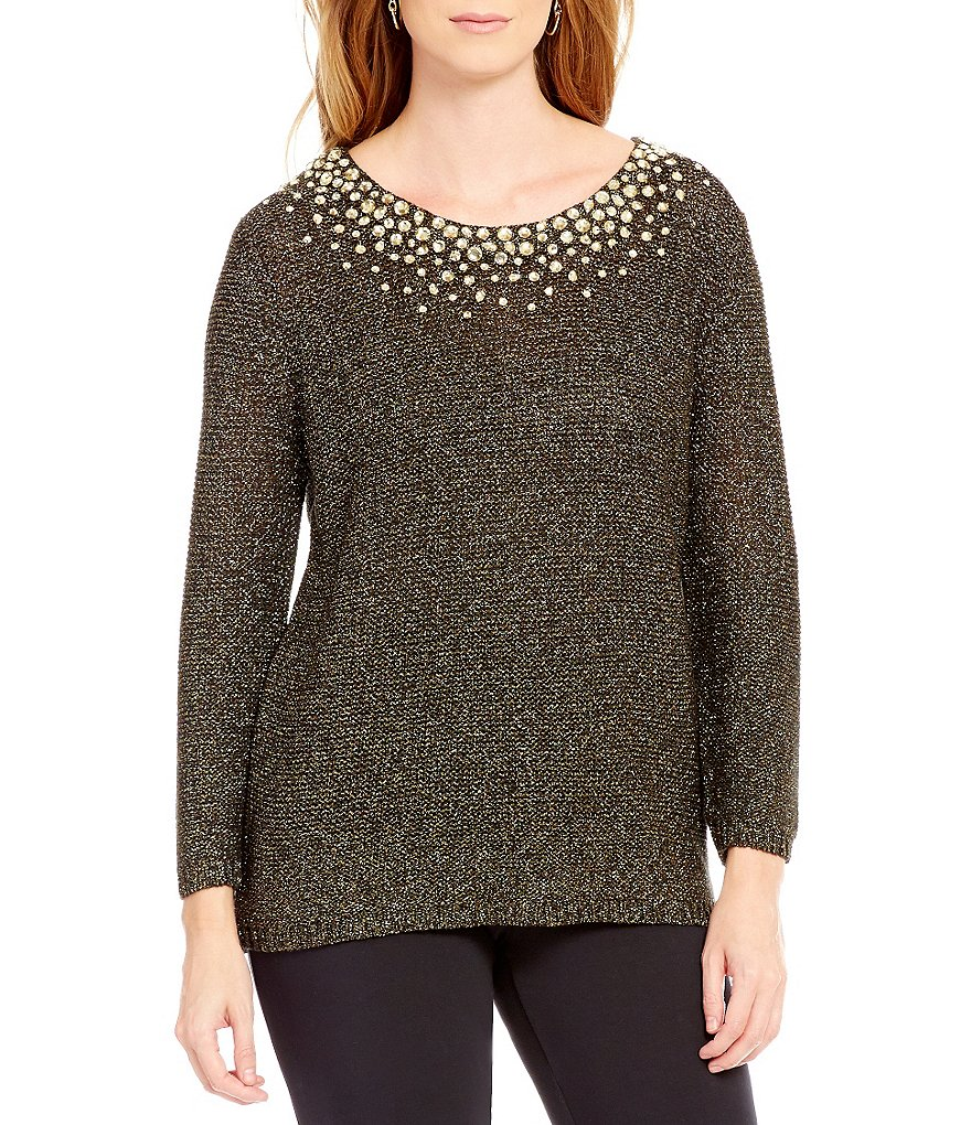 Ruby Rd. Embellished Scoop Neck Metallic Tape Sweater