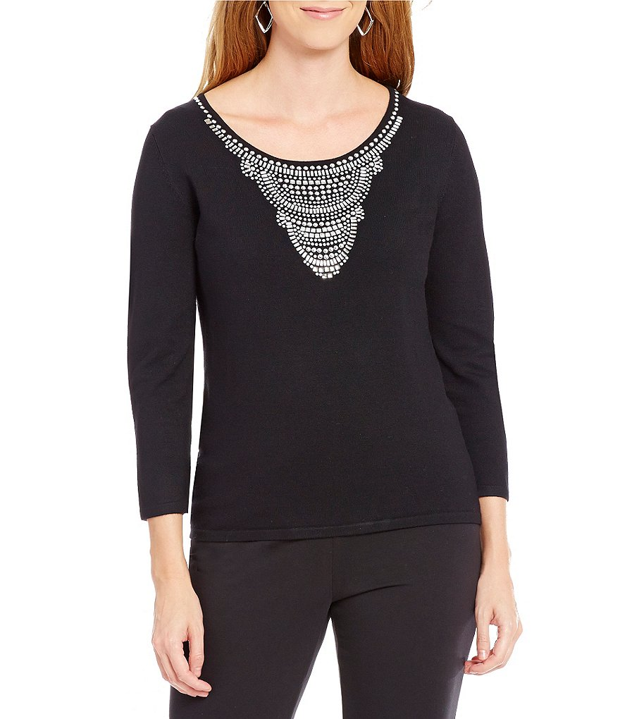 Ruby Rd. Scoop-Neck Embellished Sweater