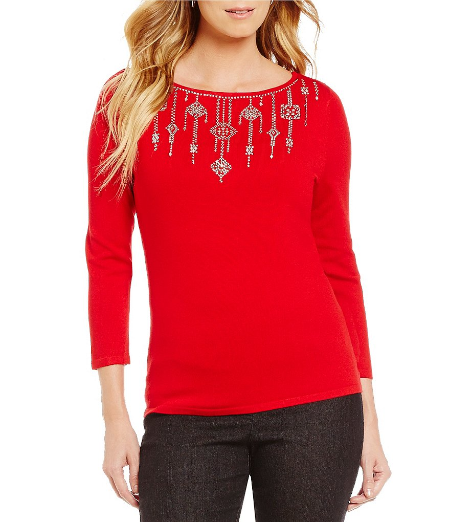 Ruby Rd. Embellished Boat Neck Solid Long Sleeve Knit Top