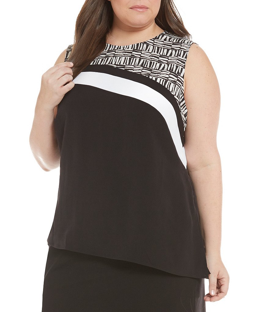 Calvin Klein Plus Sleeveless Angle Hem Top