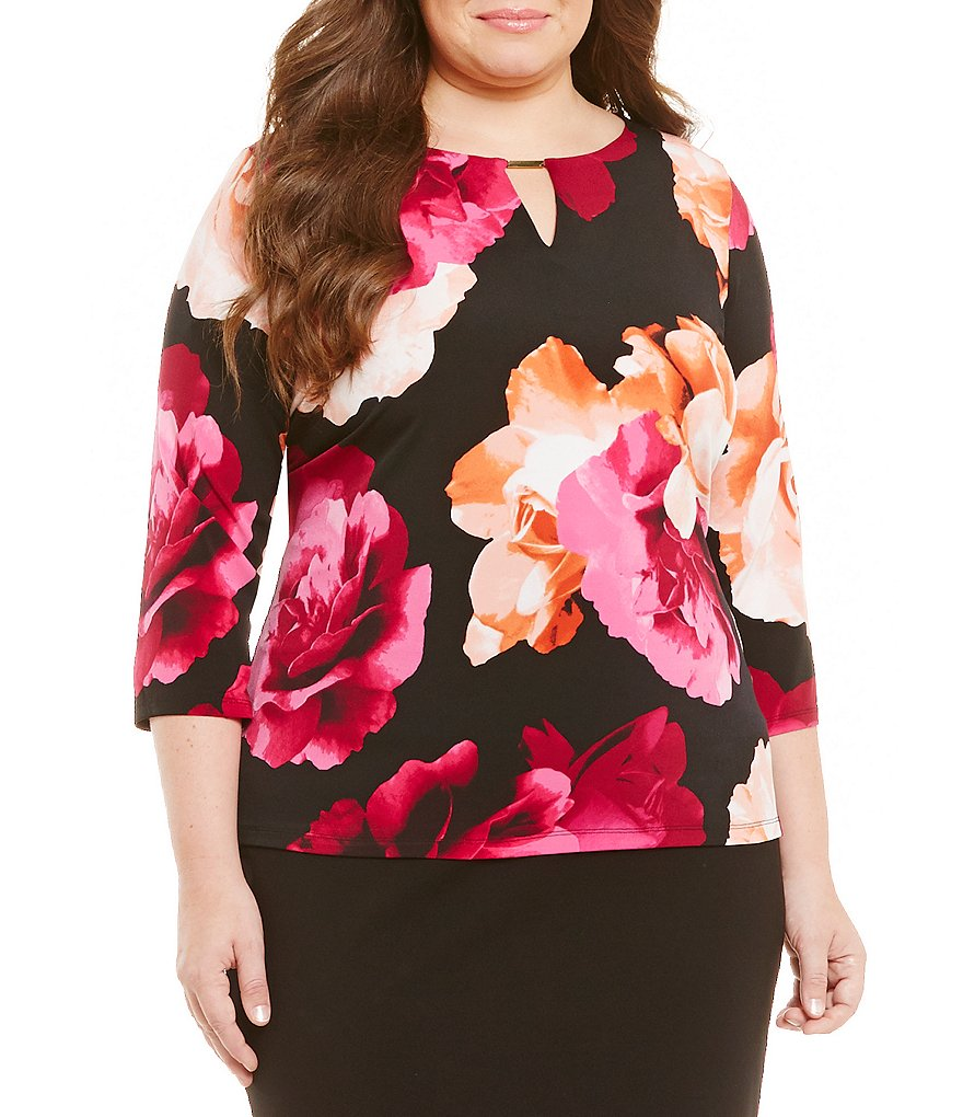 Calvin Klein Plus 3/4 Sleeve Floral Printed Top