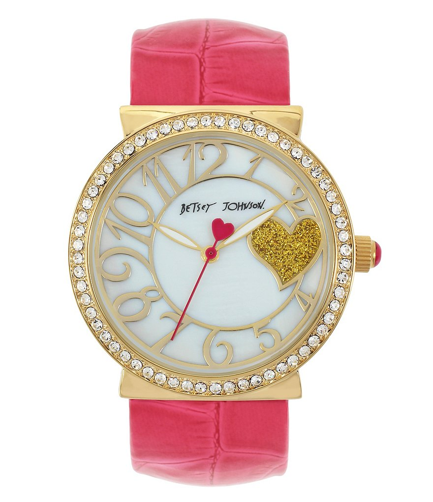Betsey Johnson Crocodile-Embossed Cuff Bracelet Watch with Crystal Bezel & Mother-of-Pearl Dial