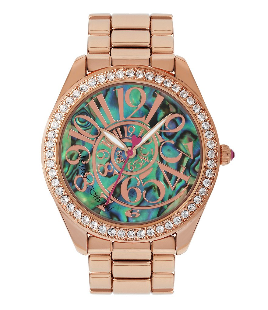 Betsey Johnson Abalone Optical Dial Rose Gold Bracelet Watch