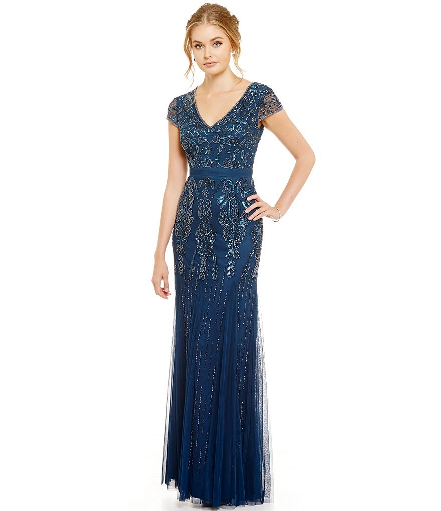Adrianna Papell Beaded V-Neck Cap Sleeve Gown
