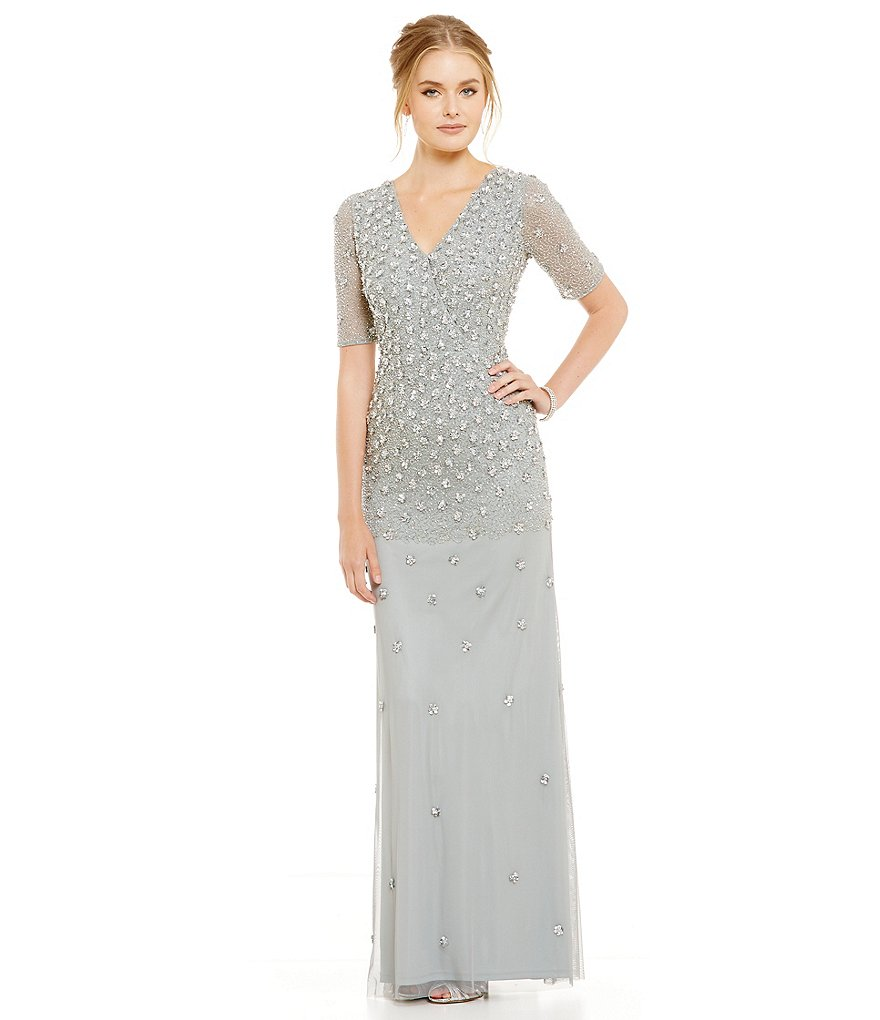 Adrianna Papell Faux Wrap V-Neck Sequin Gown