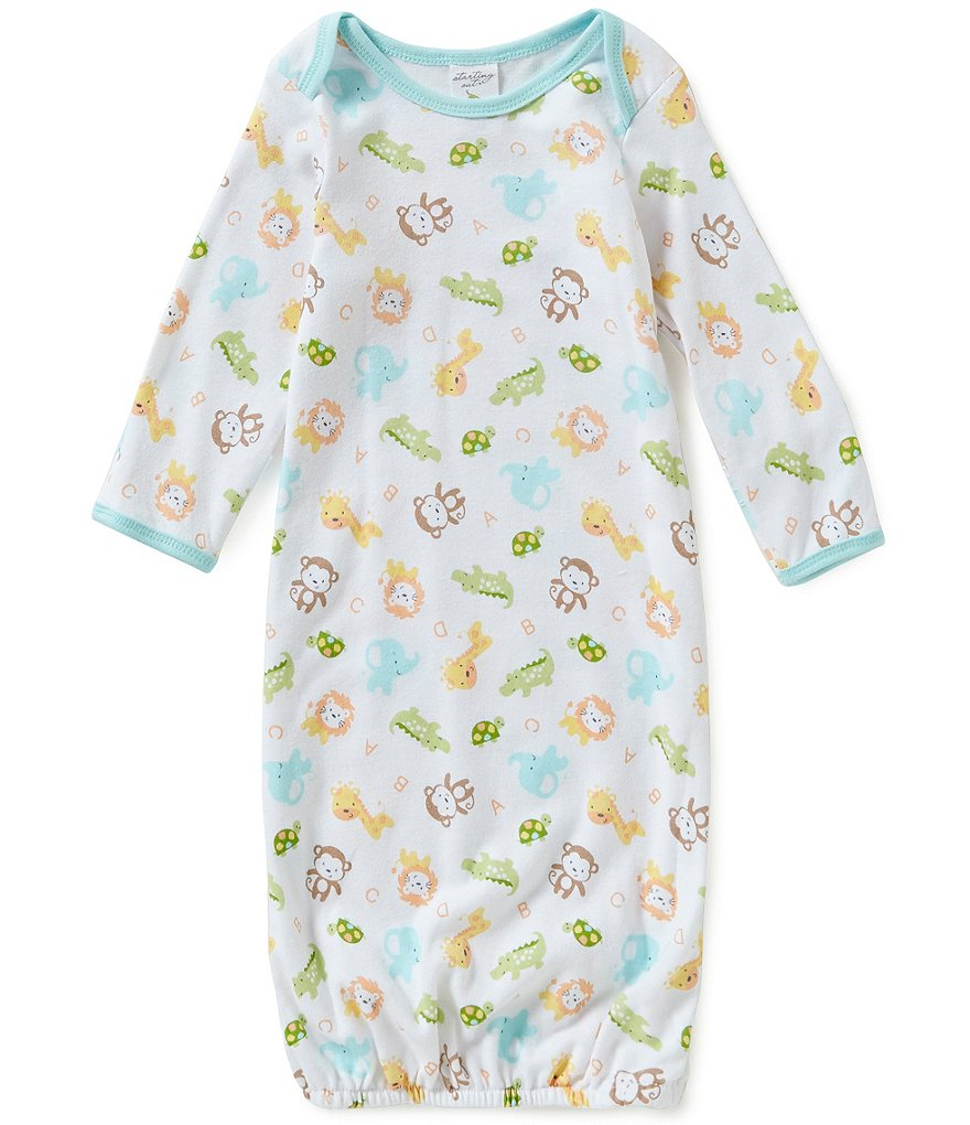 Starting Out Baby Boys Jungle Animals Print Gown