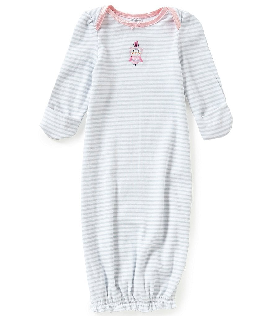 Starting Out Baby Girls Owl Embroidery Striped Gown