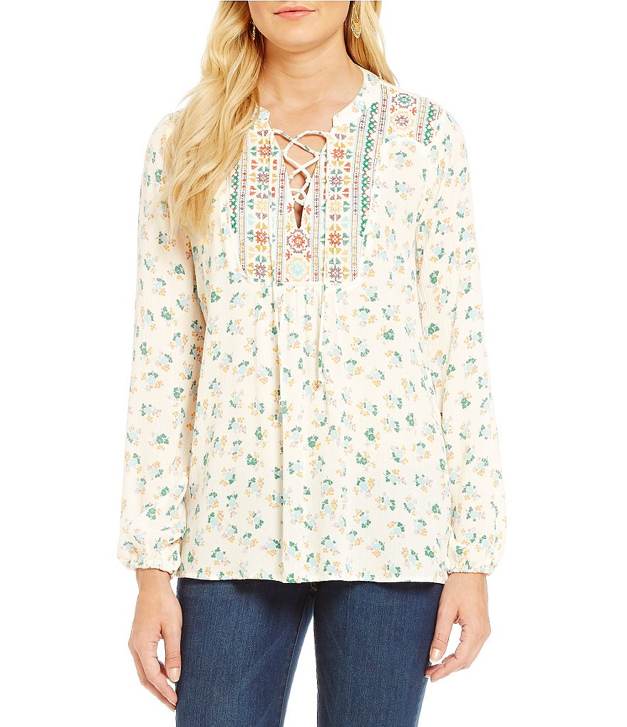 Democracy Printed Embroidered Lace-Up Woven Tunic