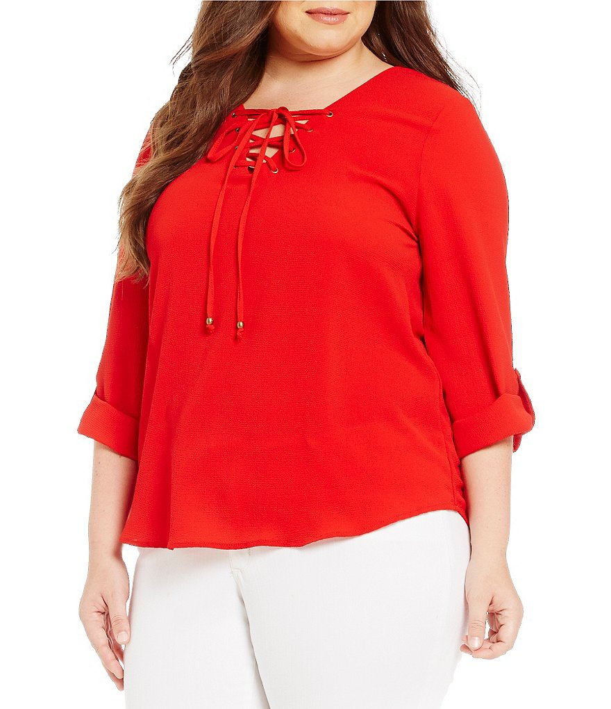 Blu Pepper Plus Lace-Up Solid Shirt