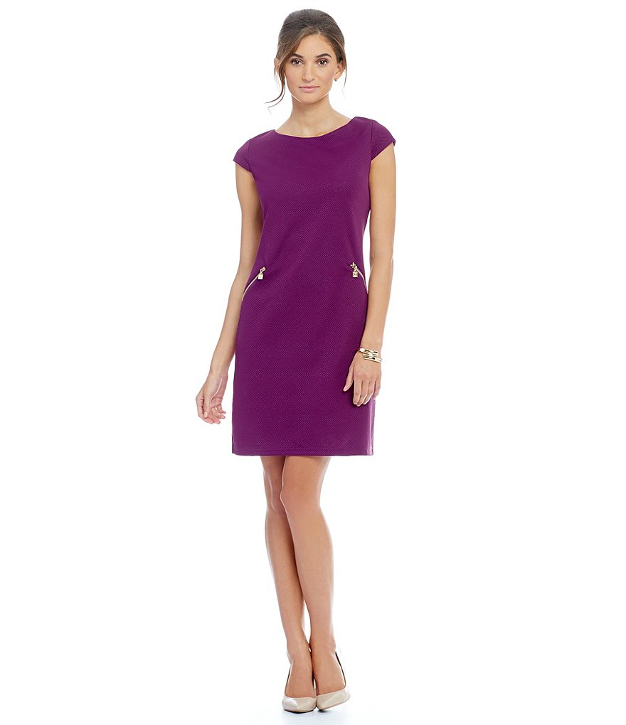 Leslie Fay Cap Sleeve Side Zipper Dress
