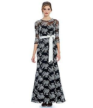 Leslie Fay Lace 3/4 Sleeve Peplum Gown