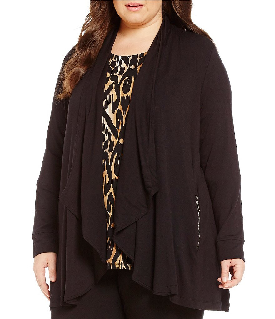 Ruby Rd. Plus Cascade Open Front Zip Pocket Solid Knit Cardigan