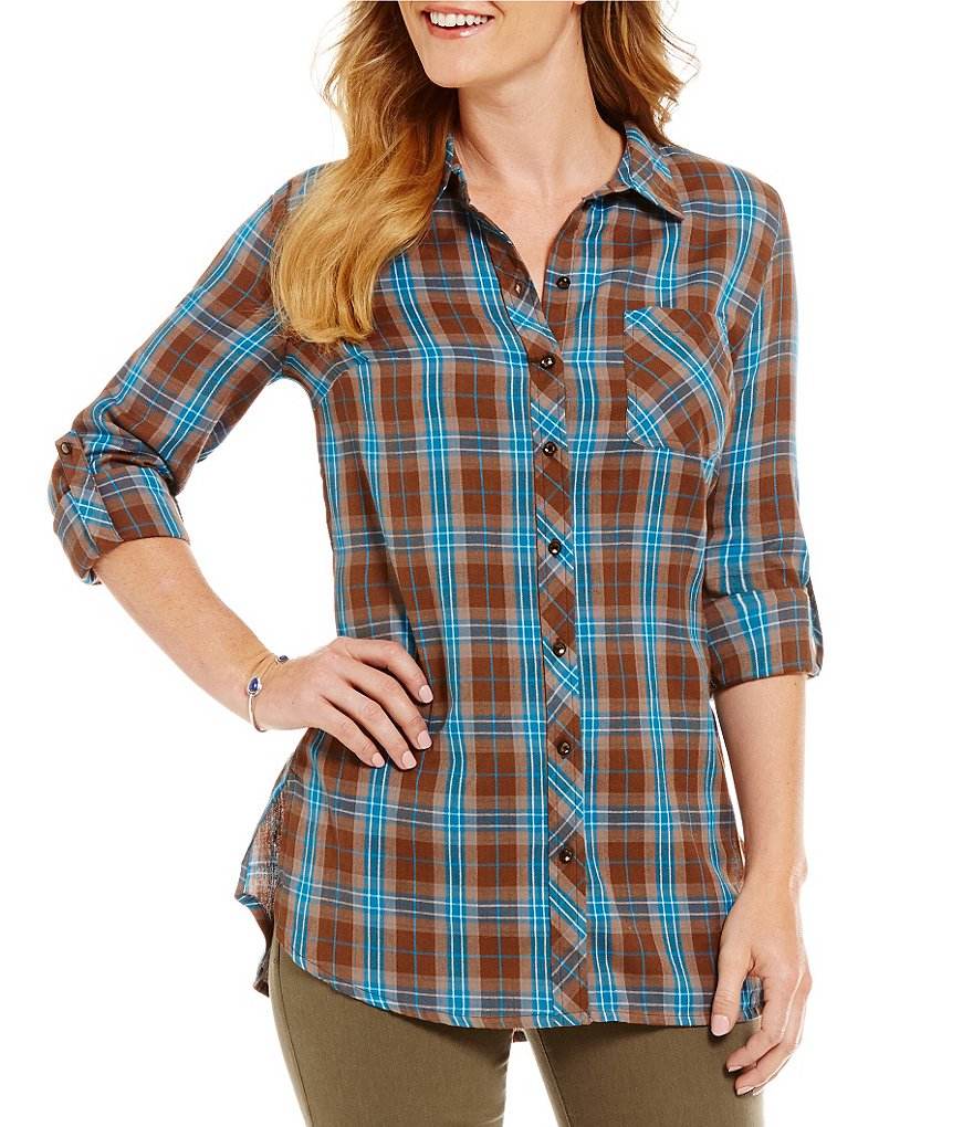 KUT from the Kloth Hailey Roll-Tab Sleeve Plaid Button Down Tunic