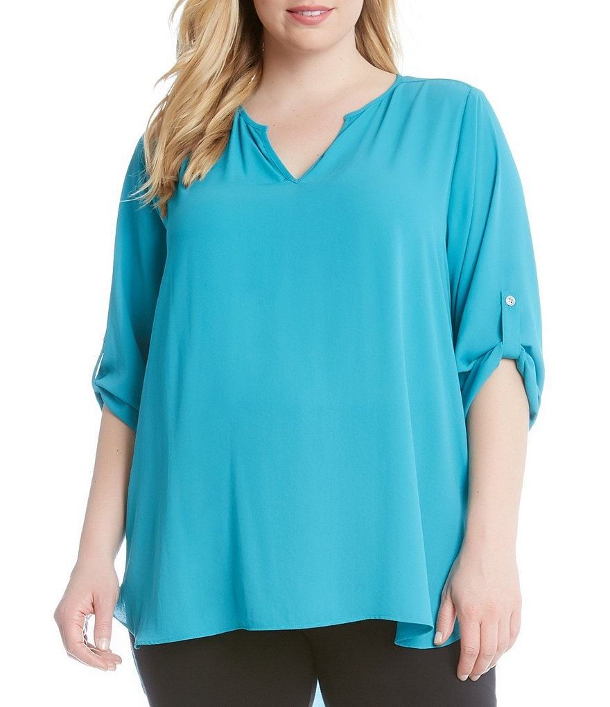Karen Kane Plus Roll-Tab Sleeve Shirttail Top