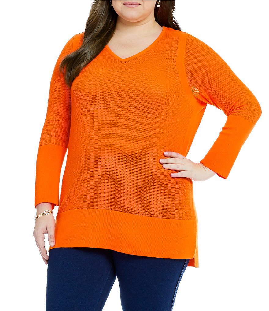 Peter Nygard Plus Pointelle Pullover