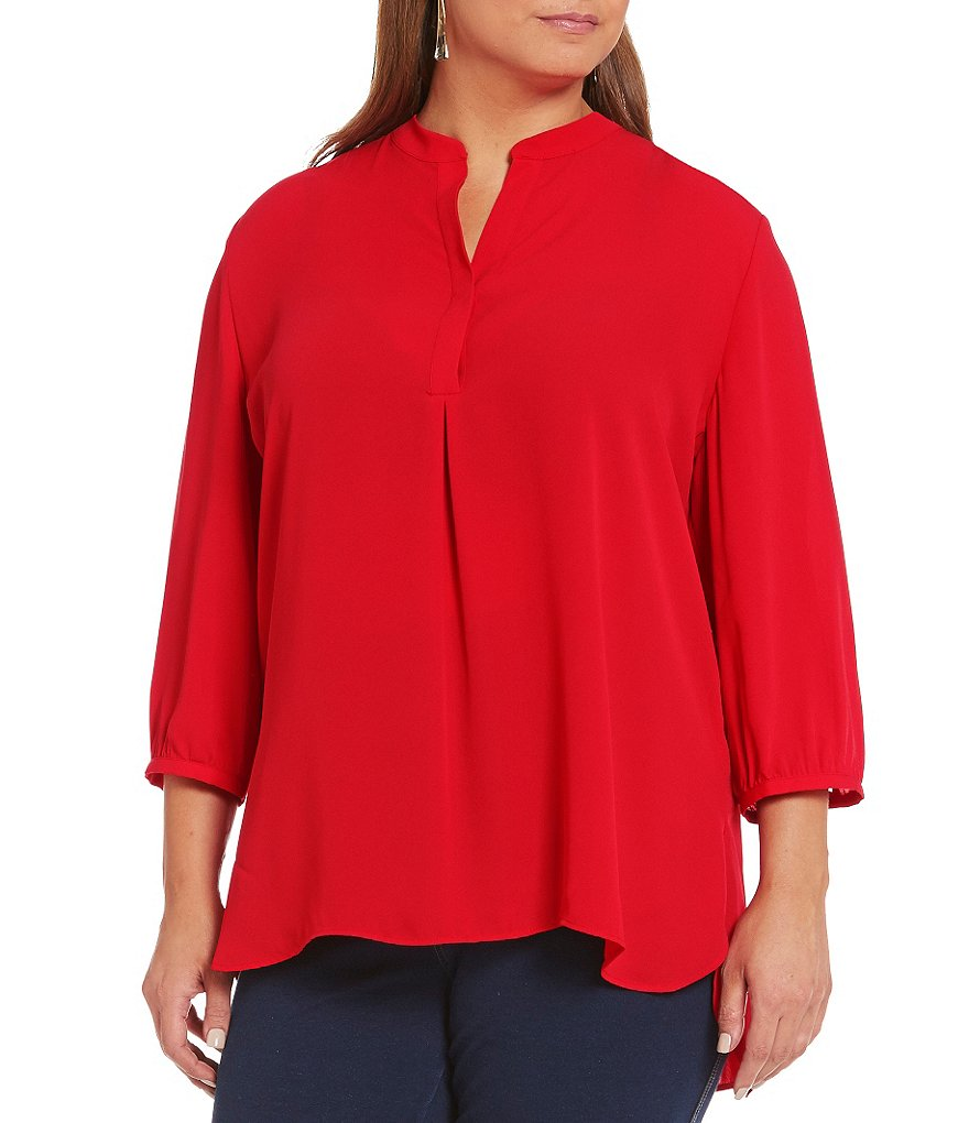 Peter Nygard Plus 3/4 Sleeve Split V-Neck Blouse