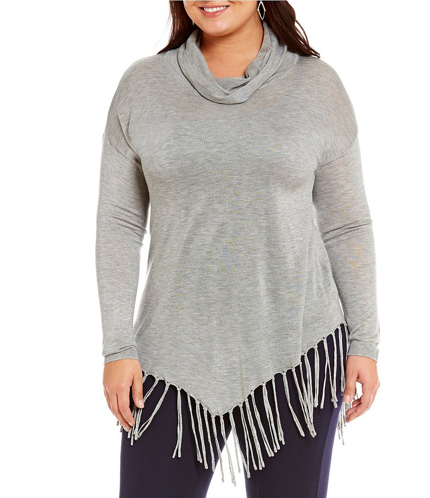 Peter Nygard Plus Cowl Neck Fringe Tunic