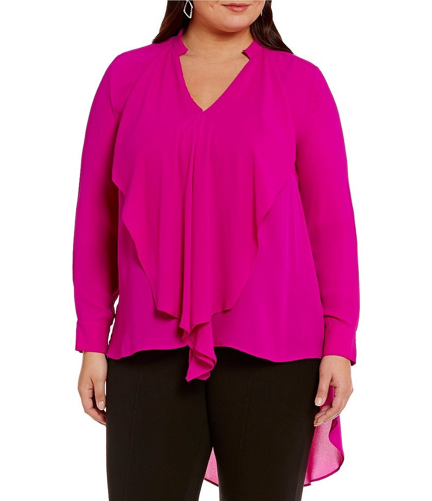 Peter Nygard Plus Ruffle Front Blouse