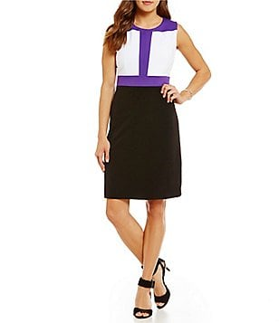 Peter Nygard Petite Sleeveless ColorBlock Dress