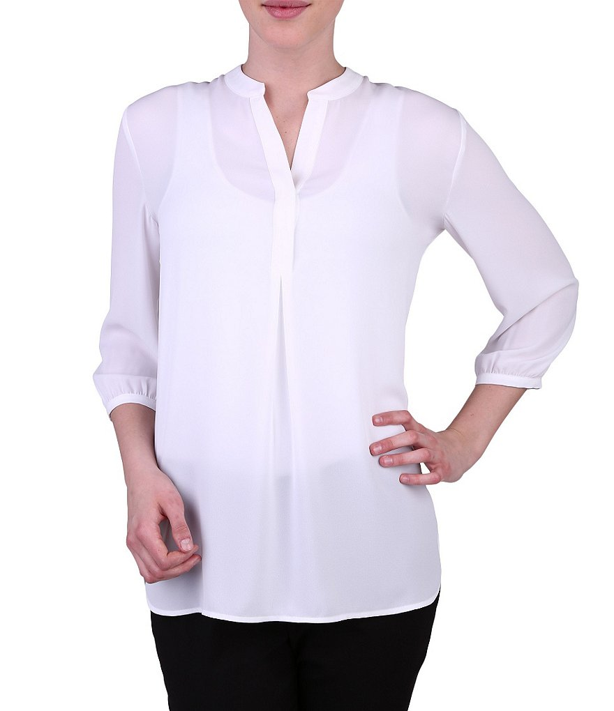Peter Nygard Petite Solid Woven Blouse