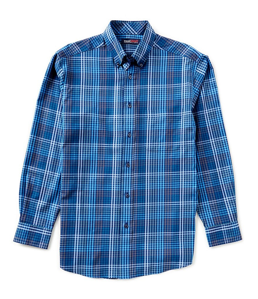 Roundtree & Yorke TravelSmart Long-Sleeve Multi-Check Woven Sportshirt